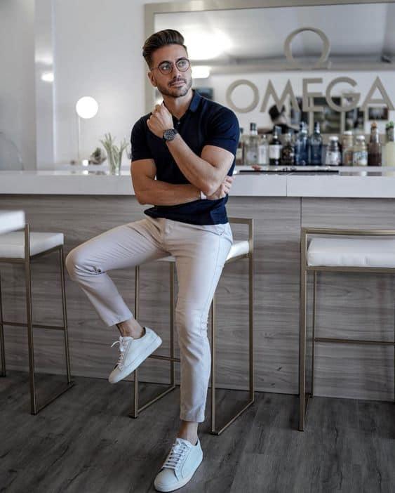 look social com tênis branco masculino