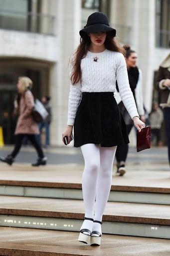 meia calça branca com short alfaiataria