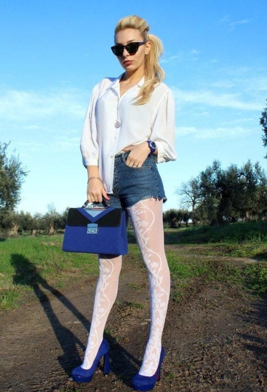 meia calça branca com short jeans