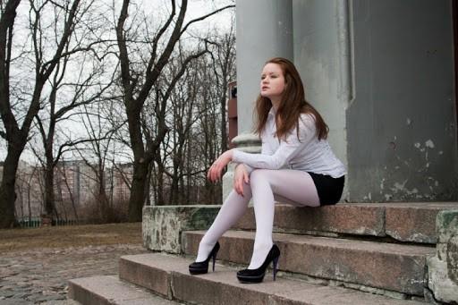 meia calça branca com short preto