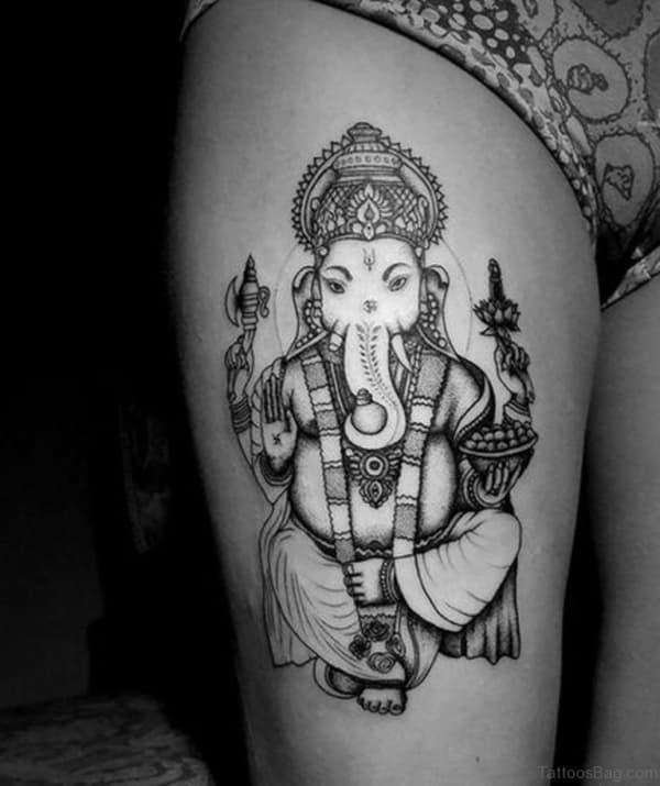 modelo de Tatuagem Ganesha na perna