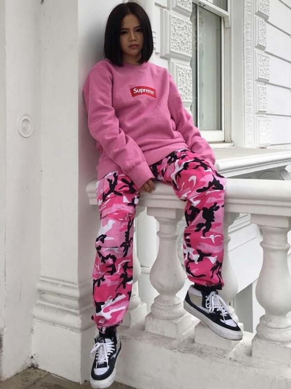 streetwear feminino supreme rosa