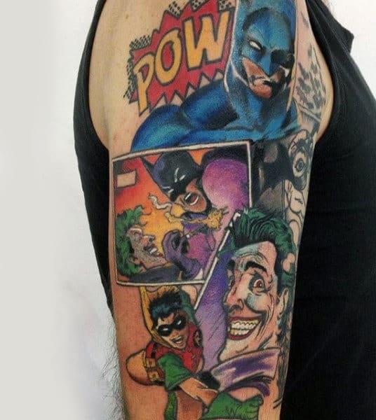 tatuagem Batman colorida no braço