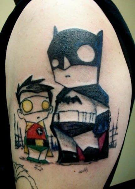 tatuagem Batman e Robin em desenho