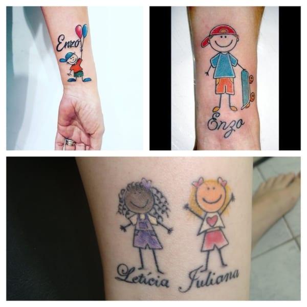 tatuagem de bonequinhos para filhos