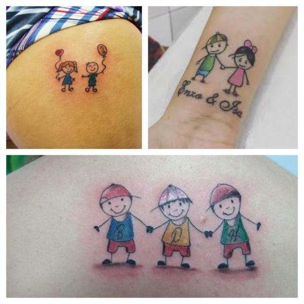 tatuagem de bonequinhos