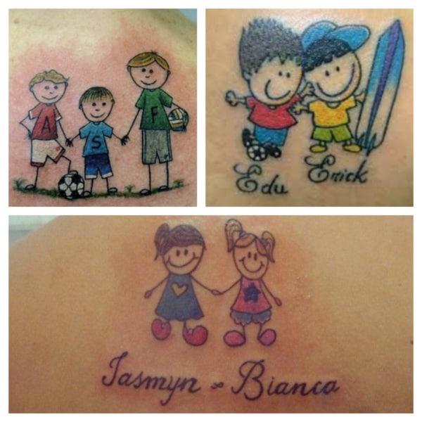 tatuagens de bonequinhos para filhos