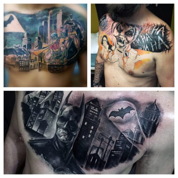tatuagens do Batman no peito