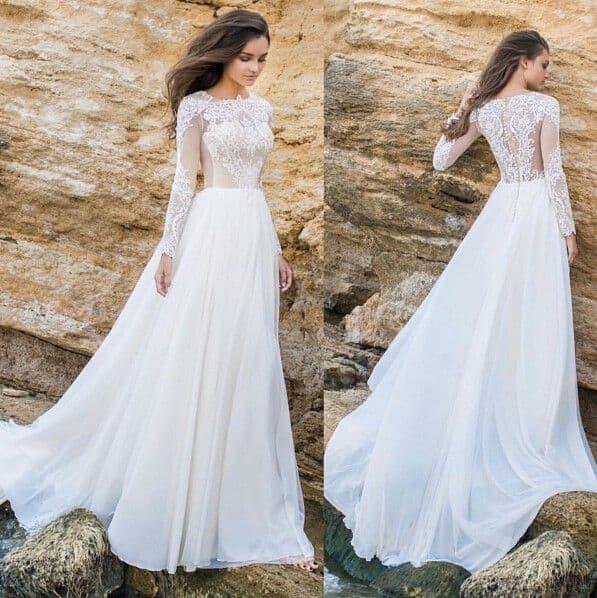 vestido de noiva com mangas longas 35