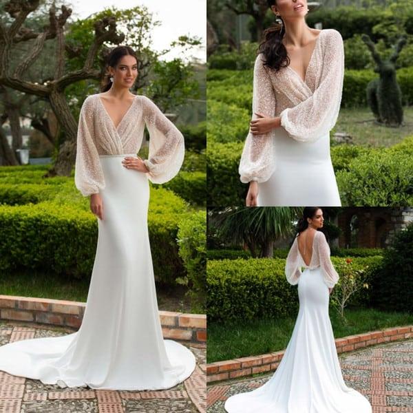 vestido de noiva com mangas longas 36