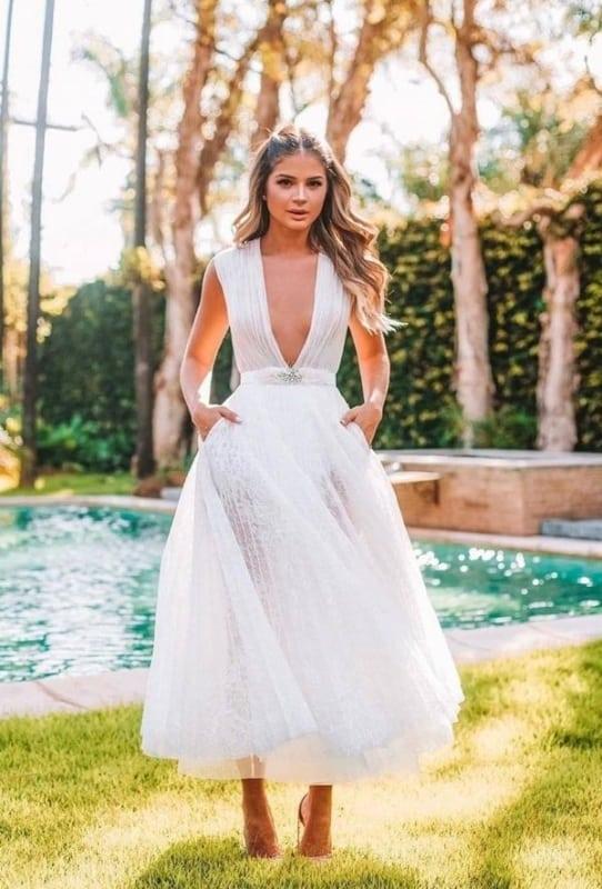 vestido de noiva midi modelo simples 11