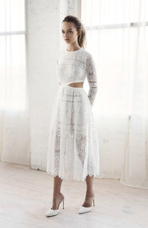 vestido de noiva midi modelo simples 12