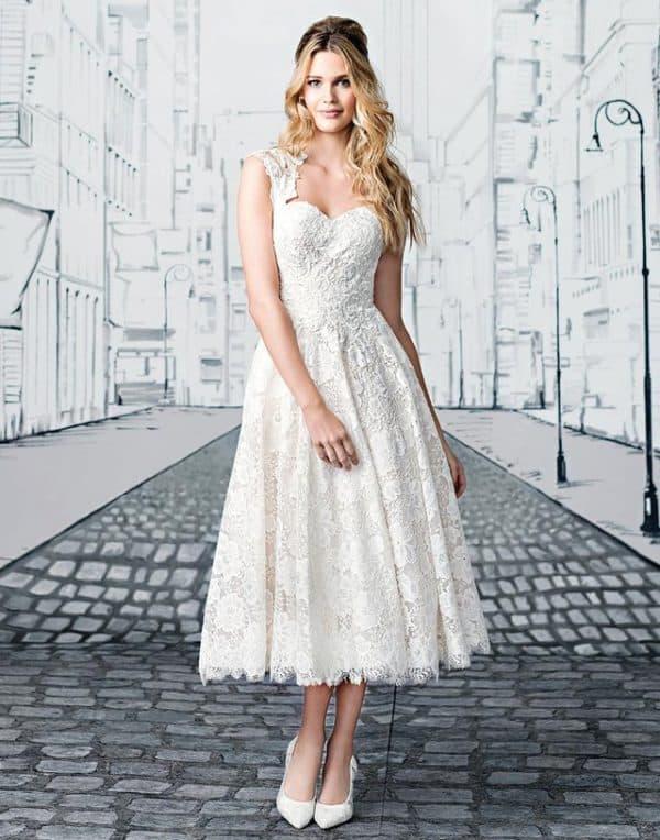 vestido de noiva midi modelo simples 13