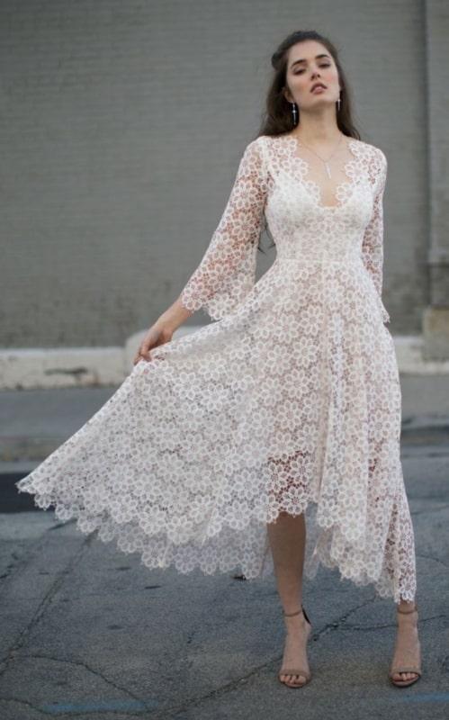 vestido de noiva midi modelo simples 15