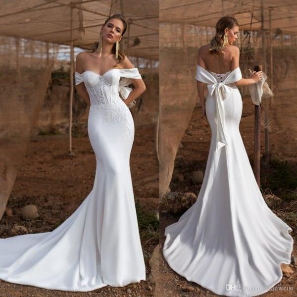 vestido de noiva modelo sereia simples 23