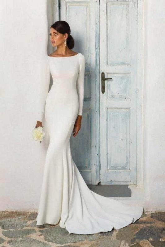 vestido de noiva modelo sereia simples 24