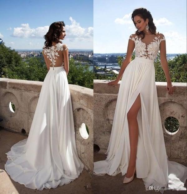 vestido de noiva simples com renda 33