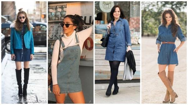 looks de inverno com vestido jeans curto