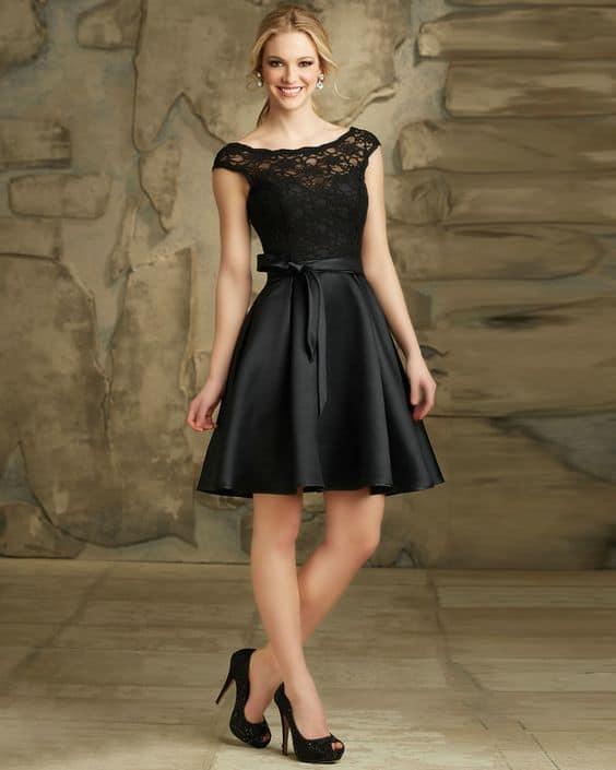 vestido de noiva curto e preto
