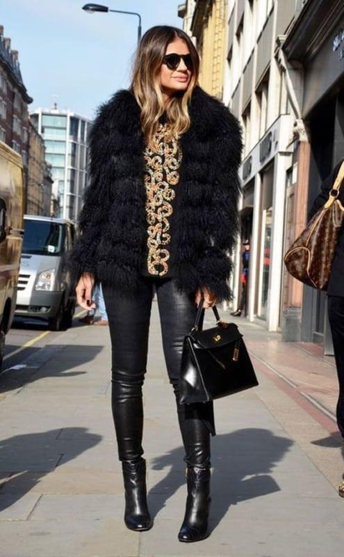 look com casaco de pelo preto