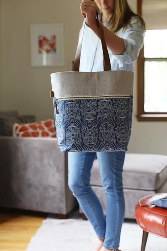 look com bolsa sacola de tecido estampado