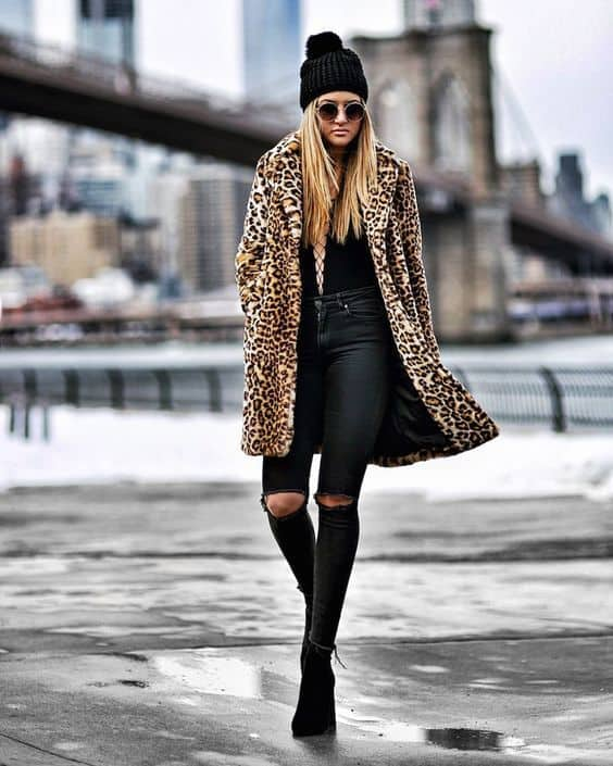 look com casaco de oncinha
