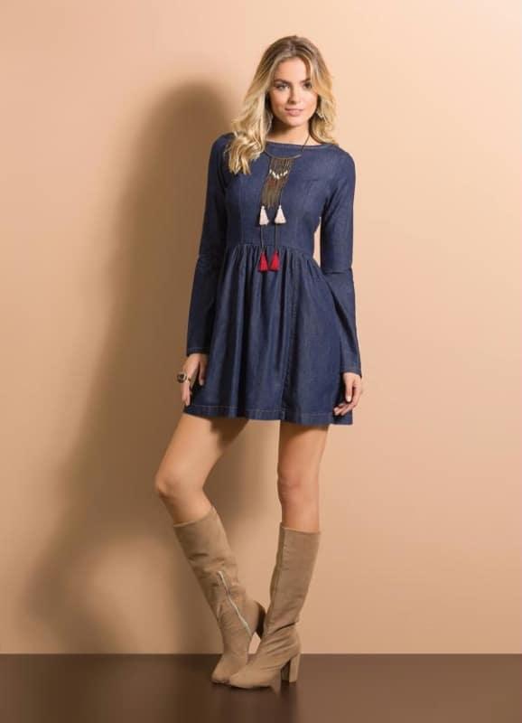 look com vestido de inverno rodado