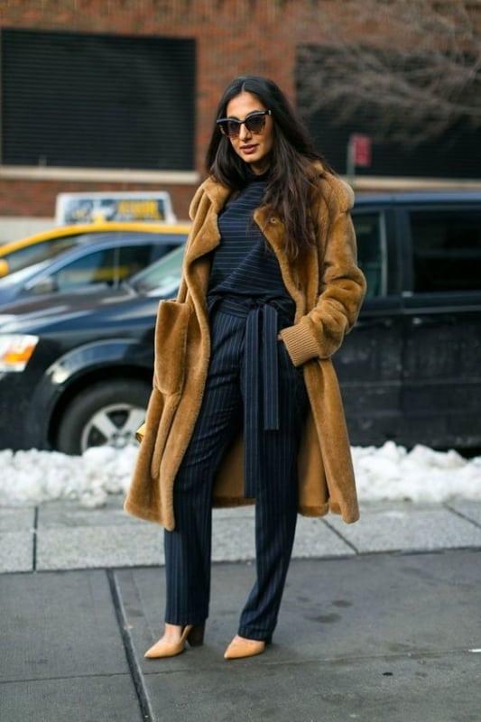 look social com casaco de pelo