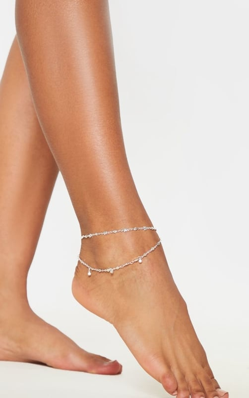 tornozeleira dupla de prata