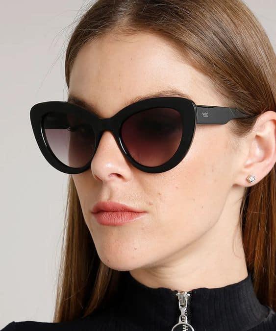 óculos de sol gatinho com armação grossa