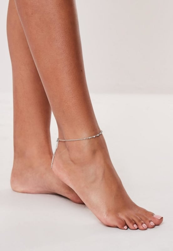 tornozeleira de prata
