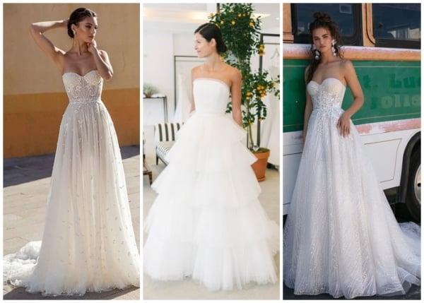 modelos de vestido de noiva rodado tomara que caia
