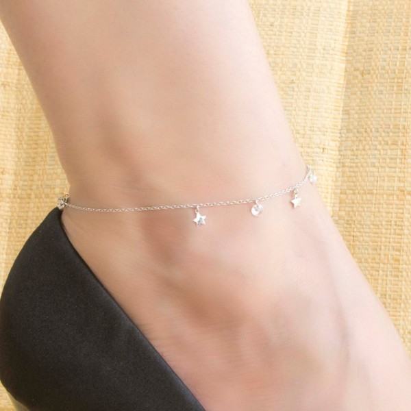 tornozeleira delicada de prata