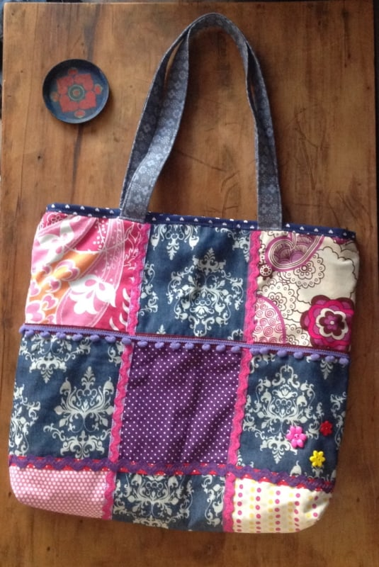 bolsa colorida de patchwork