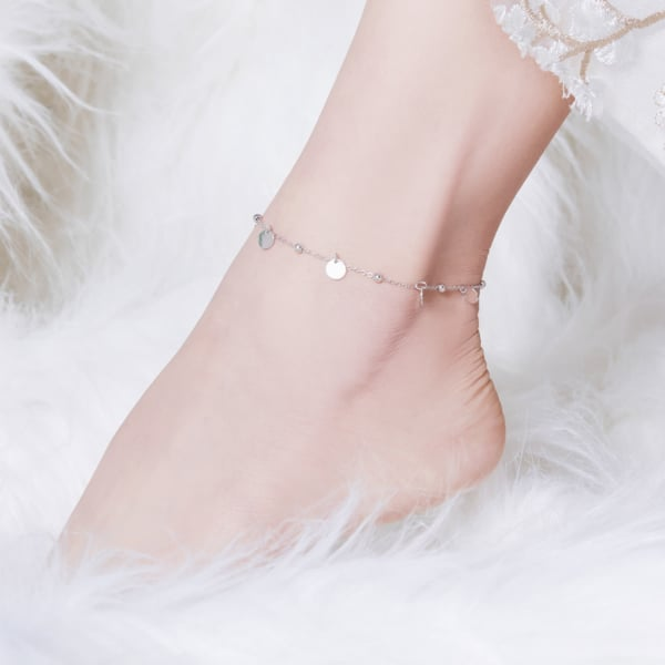 tornozeleira feminina de prata