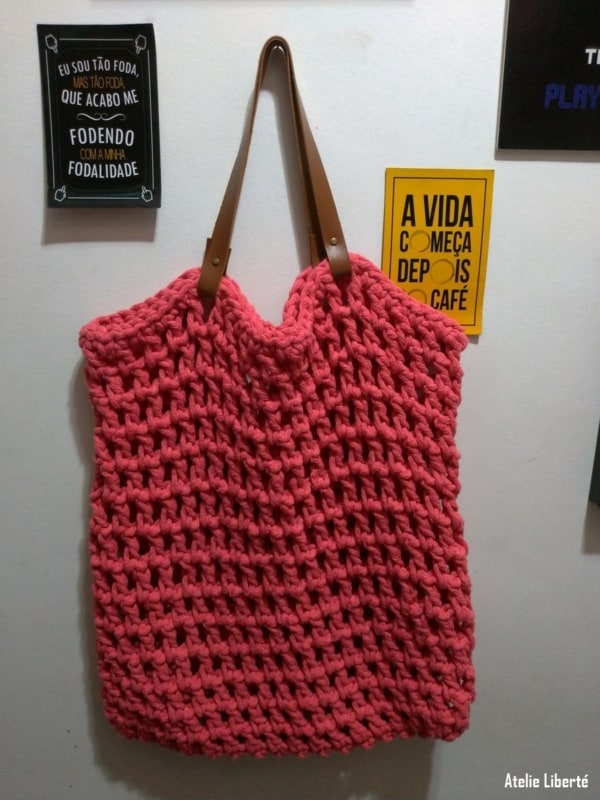bolsa sacola de crochê
