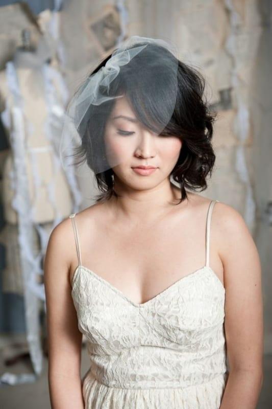 véu para noiva de cabelo curto