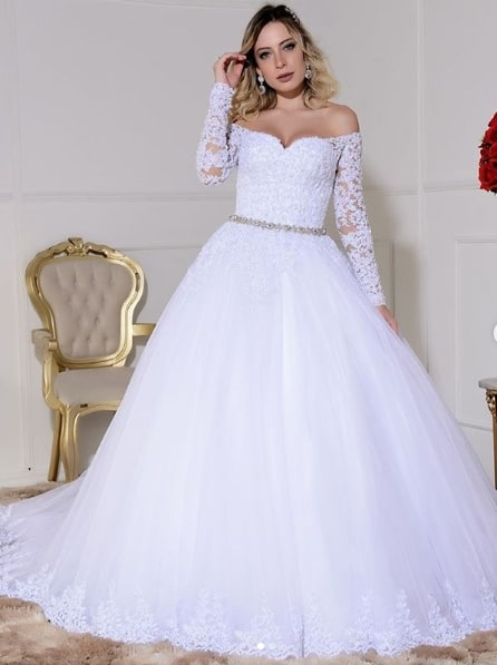 vestido de noiva com manga longa de renda