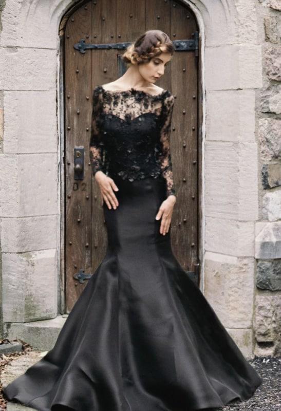vestido sereia preto para noiva