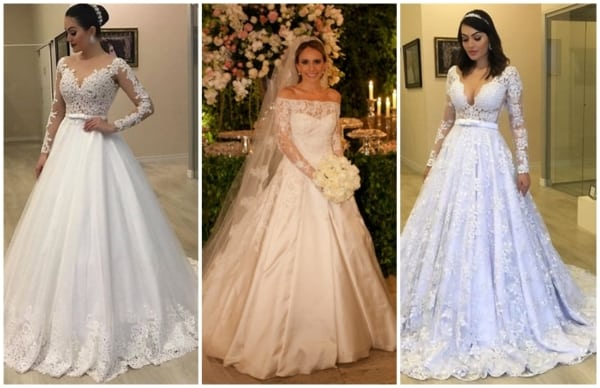 modelos de vestido de noiva princesa com manga longa