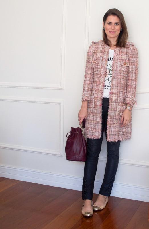 como usar casaco tweed com calça