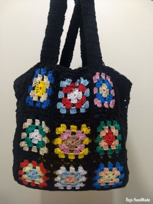 bolsa sacola de crochê square