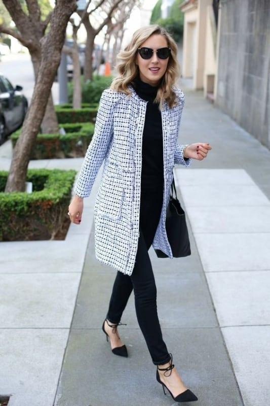 look com casaco tweed preto e branco