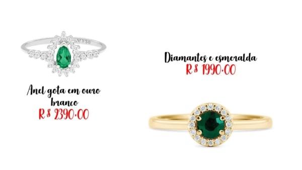 onde comprar anel de esmeralda