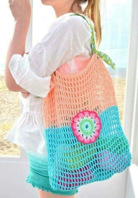 sacola de crochê colorida