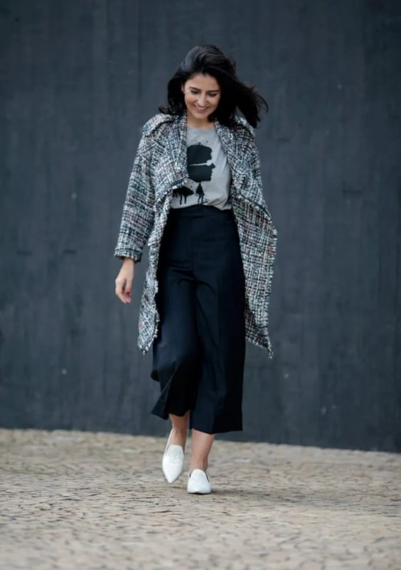 look casaco tweeed com calça pantacourt