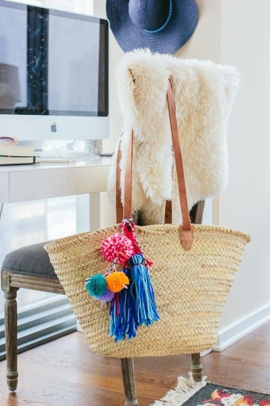 modelo de bolsa sacola em palha