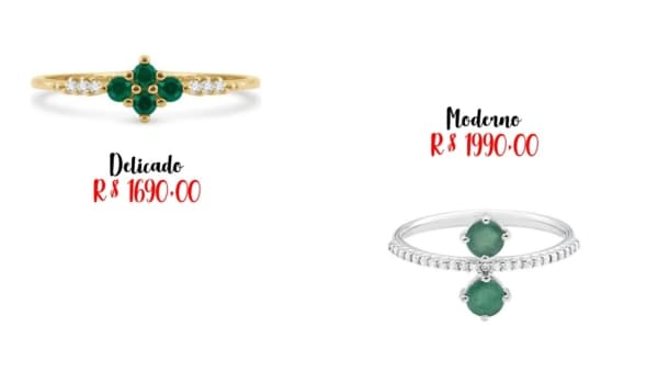 modelos e preços de anel de esmeralda