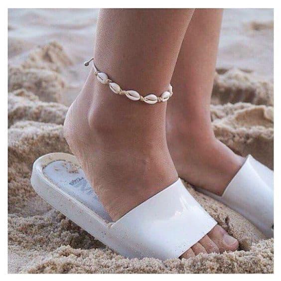 como usar tornozeleira de conchas