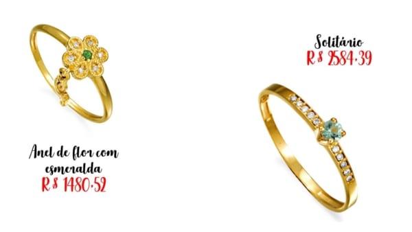 lojas e preços de anel de esmeralda